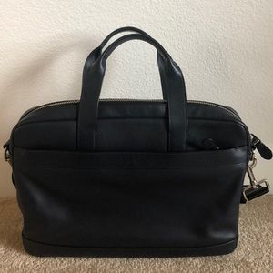Coach Men's Dark Blue Leather Laptop Bag